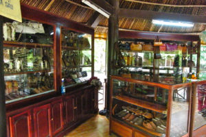Crocodile leather products for sale in gift shop
