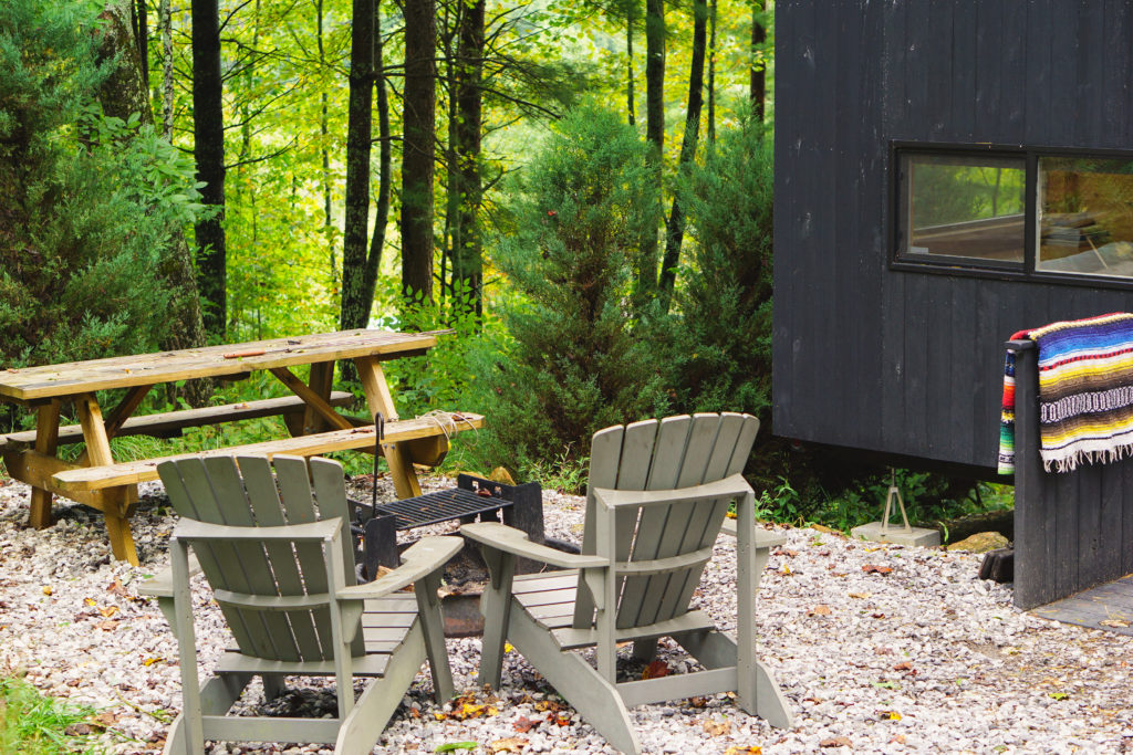 Outdoor seating area with Getaway Cabin