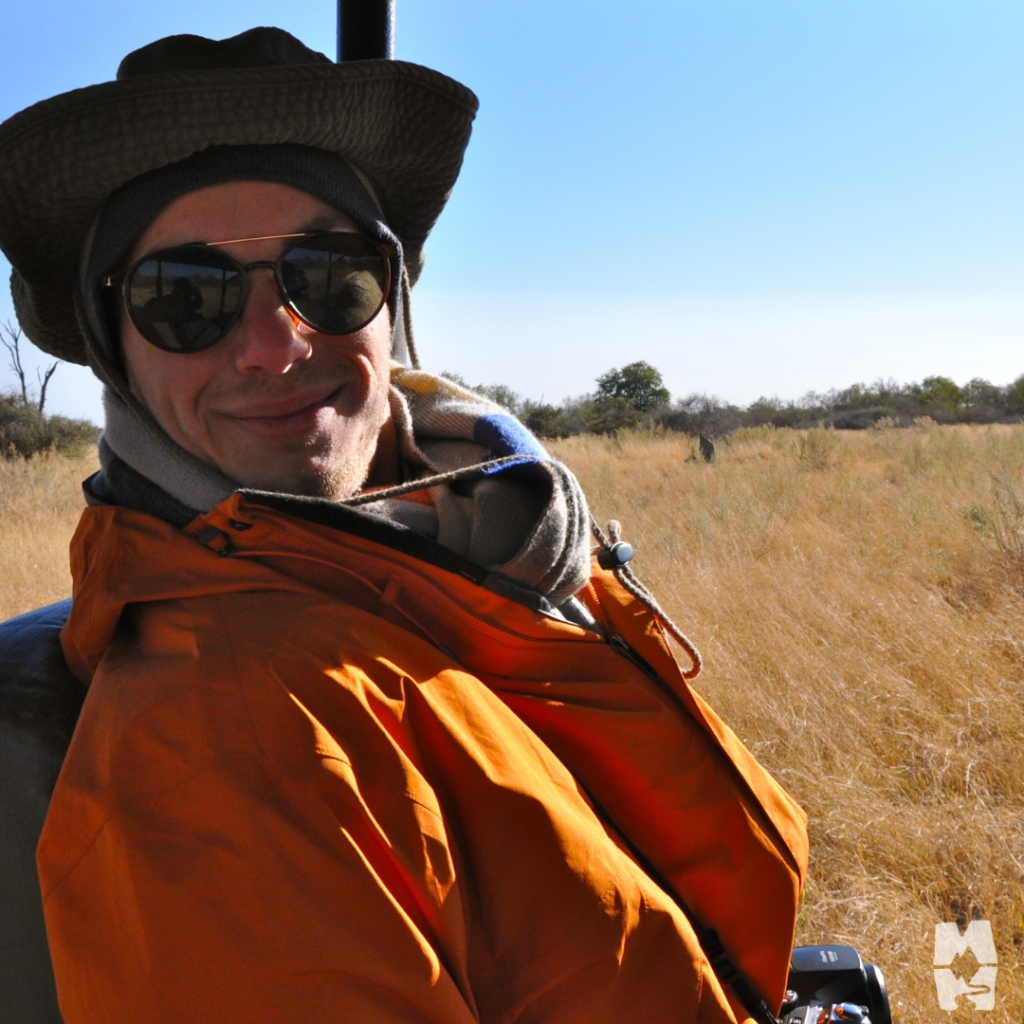 All bundled up on a chilly early morning game drive in Botswana.